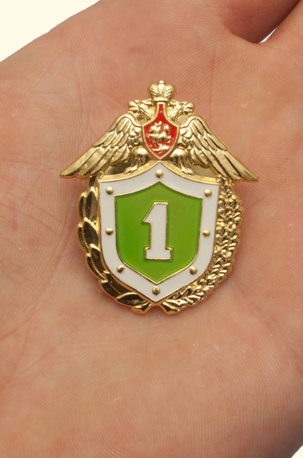 Знак ФПС России Классный специалист 1 класс в бархатном футляре - Вид на ладони