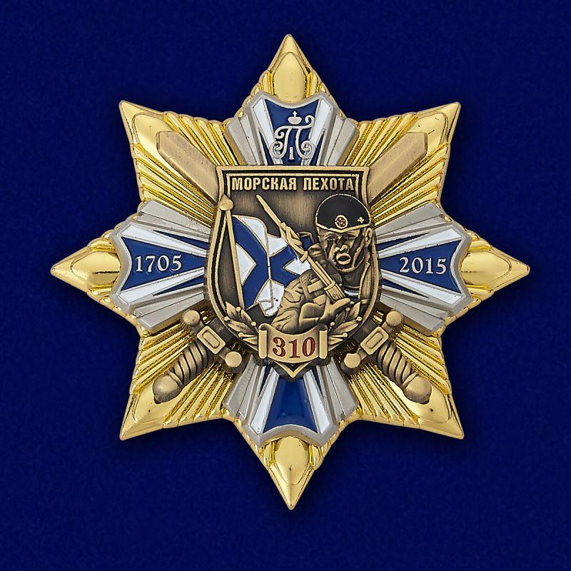 """Знак """"Морская пехота - 310 лет"""" в бархатистом наградном футляре из флока"""