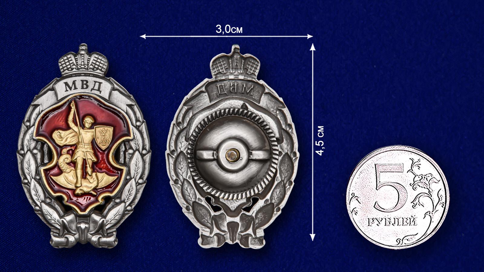 Нагрудный знак Лучший сотрудник специальных подразделений полиции - сравнительный размер