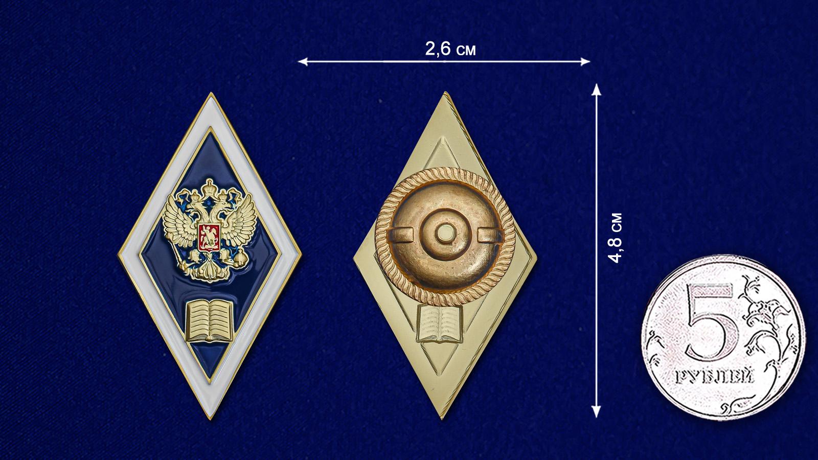 Знак Об окончании гуманитарного ВУЗа РФ - сравнительный размер