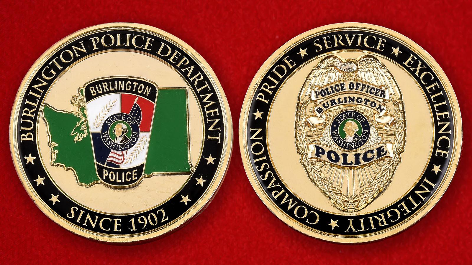 """Знак полиции США """"Департамент Берлингтона, штат Вашингтон"""""""