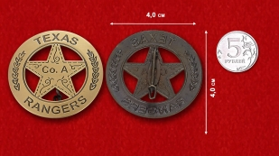 Badge Texas Rangers - comparative size