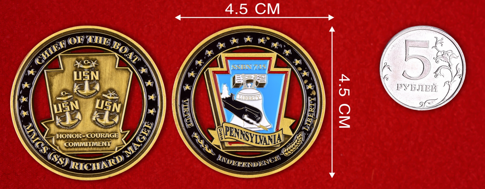 "Знак командира субмарины ВМС США SSBN-735 ""Пенсильвания"""