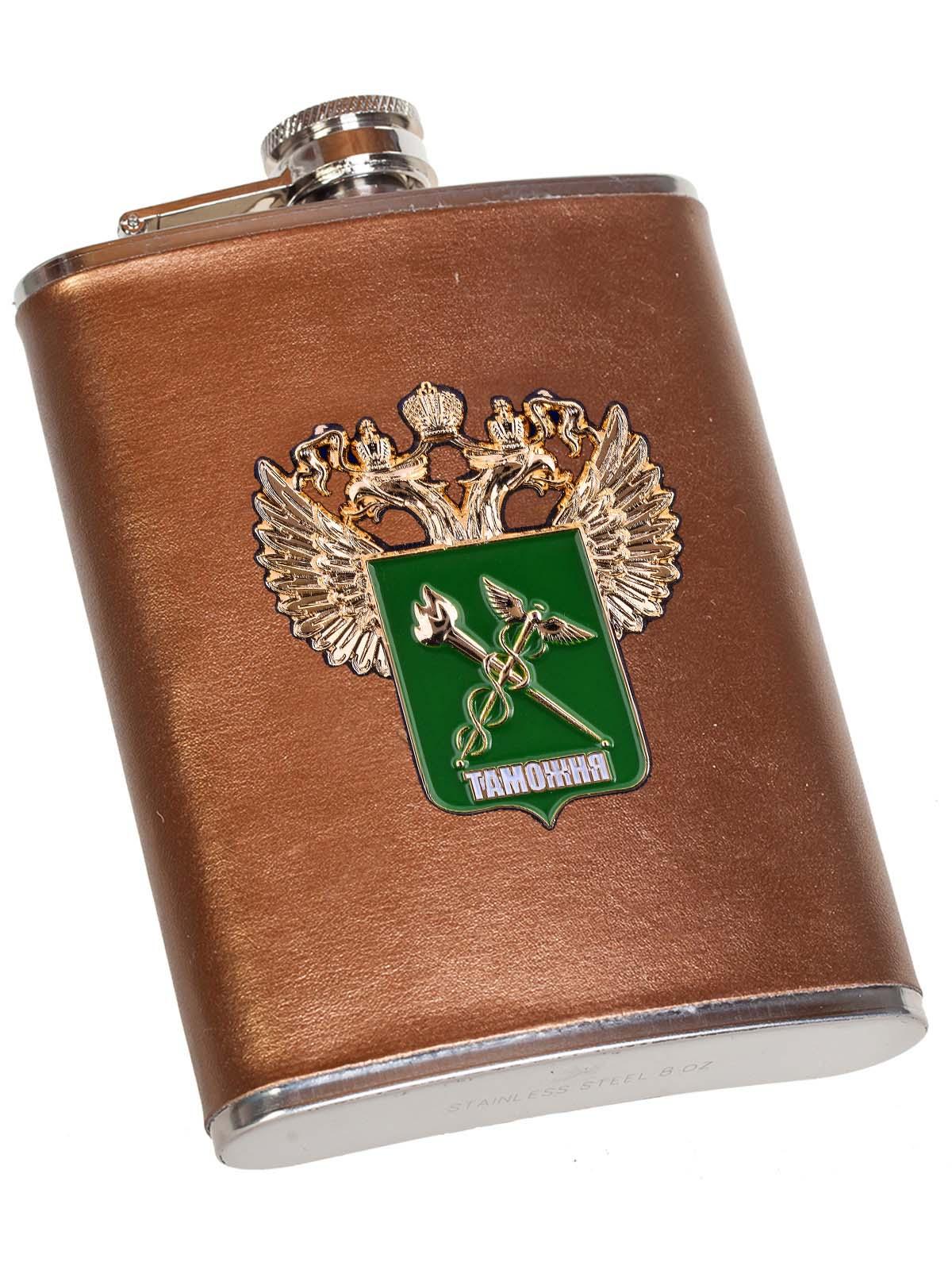 Золотистая фляжка с эмблемой Таможни в Военпро